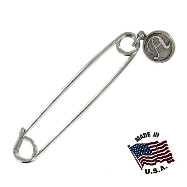 Ky & Co Safety Pin Brooch Silver Tone Cursive Initial Letter A End Charm USA Made 2""