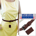 "WCM Brown Ladies Skinny Belt 3/4"" Width Fits at 28""-32"" Medium M Thumbnail 1"