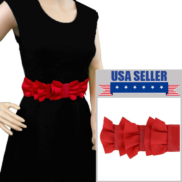 "Red Black Rockabilly Grosgrain Ribbon Bow Waist Belt 31"" Plus Stretch Medium M"