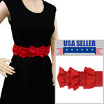 "Red Black Rockabilly Grosgrain Ribbon Bow Waist Belt 31"" Plus Stretch Medium M Thumbnail 1"