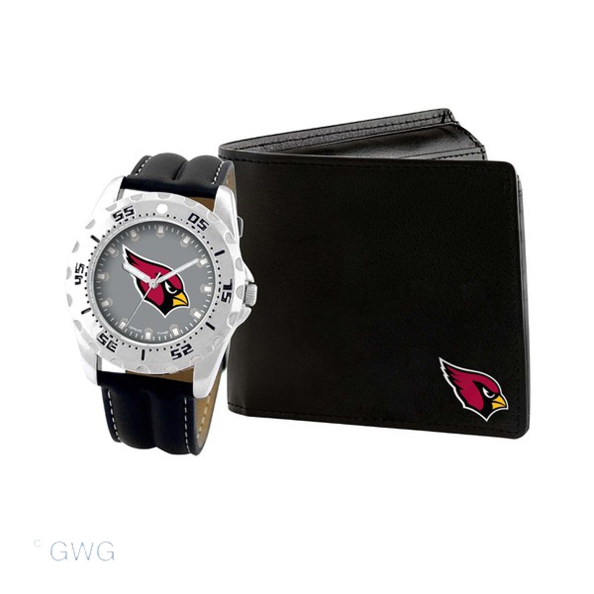 Arizona Cardinals NFL Game Time Black Leather Watch Bifold Wallet Set MTO