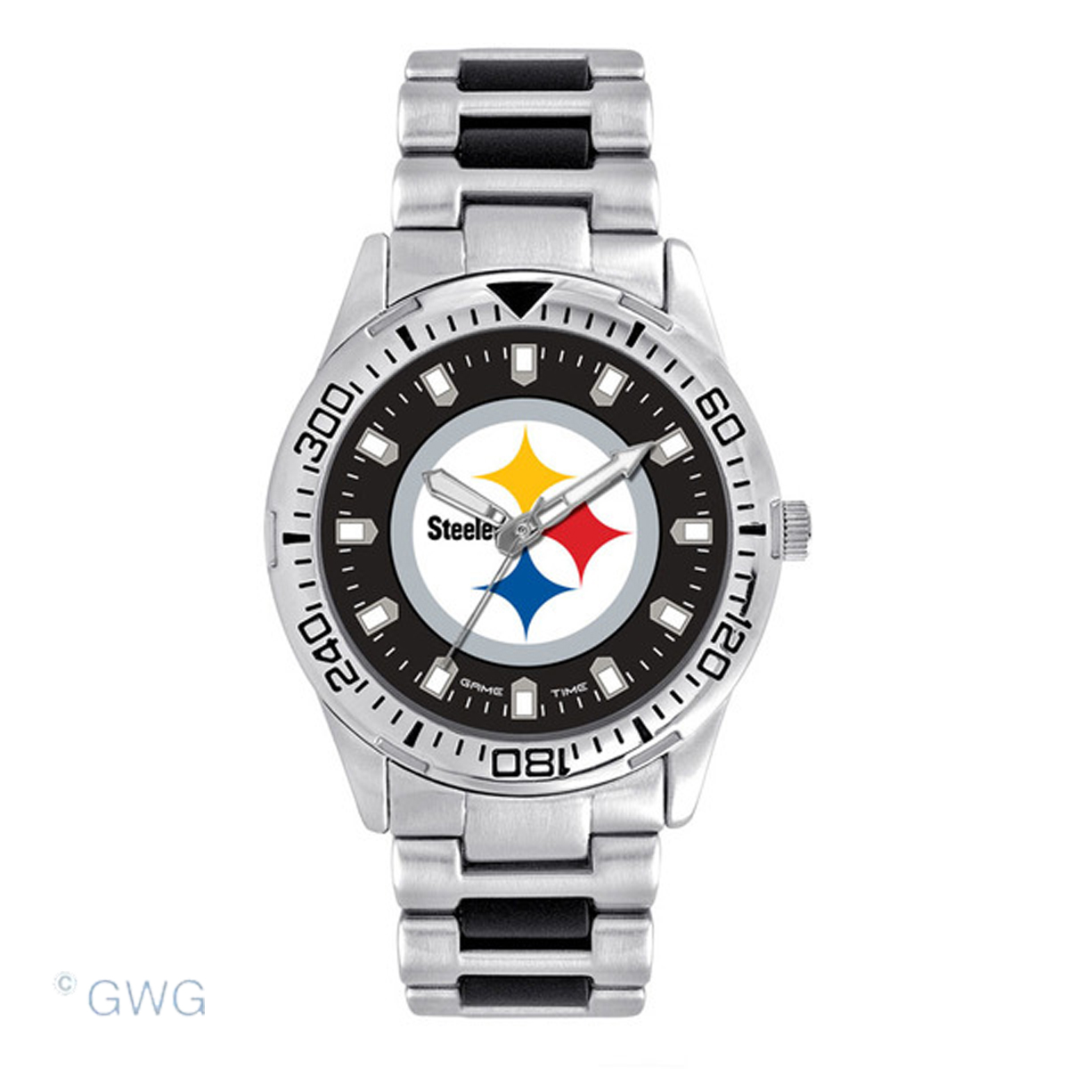 Pittsburgh Steelers Game Time Silver Tone Sport Team Watch MTO