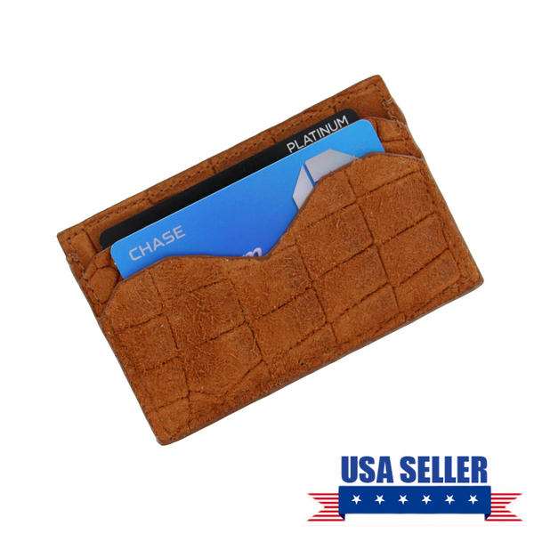 Caracas Tan Saddle Genuine Suede Leather Credit Card Case Wallet