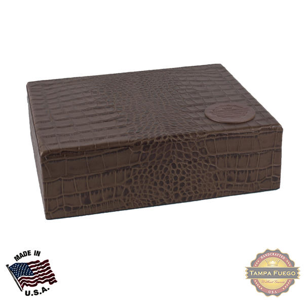 Tampa Fuego 20 Cigar Crocodile Grain Leather Humidor Cedar Box Brown