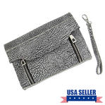 "WCM Black and Cream Textured Safari Clutch Purse Genuine Leather Handbag 8"" Thumbnail 1"
