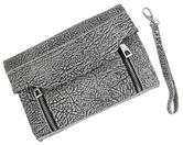 "WCM Black and Cream Textured Safari Clutch Purse Genuine Leather Handbag 8"" Thumbnail 2"