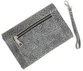 "WCM Black and Cream Textured Safari Clutch Purse Genuine Leather Handbag 8"" Thumbnail 3"