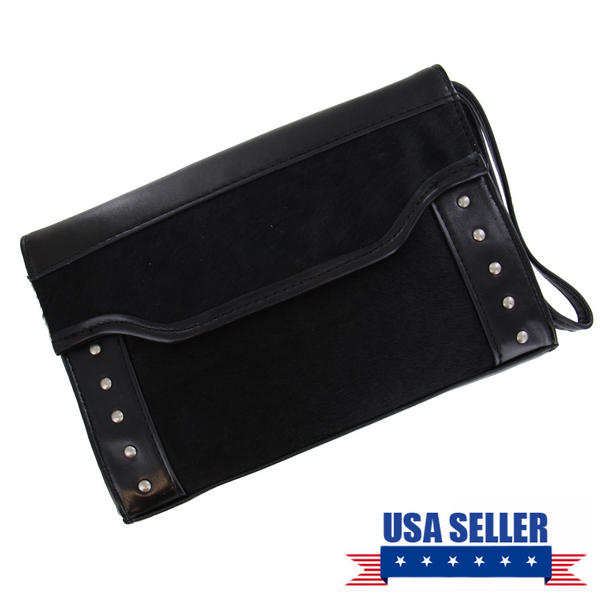 WCM Black Genuine Haircalf and Faux Leather Punk Studded Clutch Purse Handbag 8""