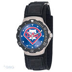 Philadelphia Phillies P Logo Game Time MLB Agent Hook and Loop Black Nylon Mens Watch  MTO