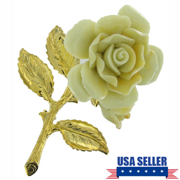 Pin Brooch Yellow Rose China Ceramic Large Classic