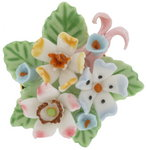 Pin Brooch China Ceramic Forget Me Not Flower Pink Blue Bouquet Thumbnail 2