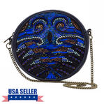 WCM Blue Genuine Leather Hand Beaded Peacock Design Round Shoulder Bag Purse Thumbnail 1