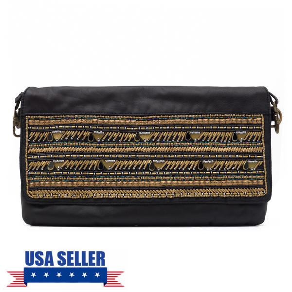 WCM Black Genuine Leather Hand Beaded Bronze Stripe Tribal Crossbody Purse Bag