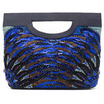 WCM Blue Genuine Leather Hand Beaded Peacock Design Big Tote Purse Bag Handbag Thumbnail 2
