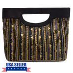 WCM Black Genuine Leather Gold Tone Bronze Hand Beaded Striped Design Tote Purse Thumbnail 1