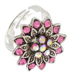 Pink Rhinestone Flower Silver Tone Statement Cocktail Ring Adjustable