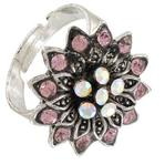 Pale Pink AB Rhinestone Silver Tone Flower Statement Cocktail Ring Adjustable