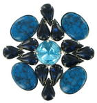 Faux Turquoise Glass Cabochon Blue Crystal Statement Brooch Pin