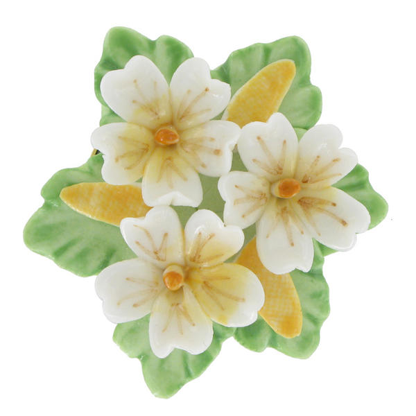 Pin Brooch Floral China Yellow White Flower Bouquet