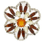 Large Vintage Topaz Color Glass Rhinestone Brooch Pin