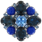 Large Vintage Blue Crystal Glass Cabochon Brooch Pin