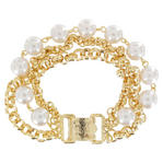 3 Strand Beaded Faux Pearl Gold Tone Chain Link Bracelet Thumbnail 3