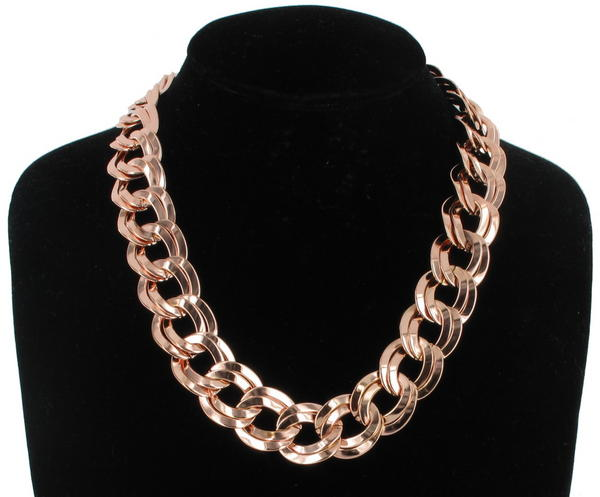 Ky & Co USA Made Rose Gold Tone Double Circle Link Chain Collar Necklace 18""