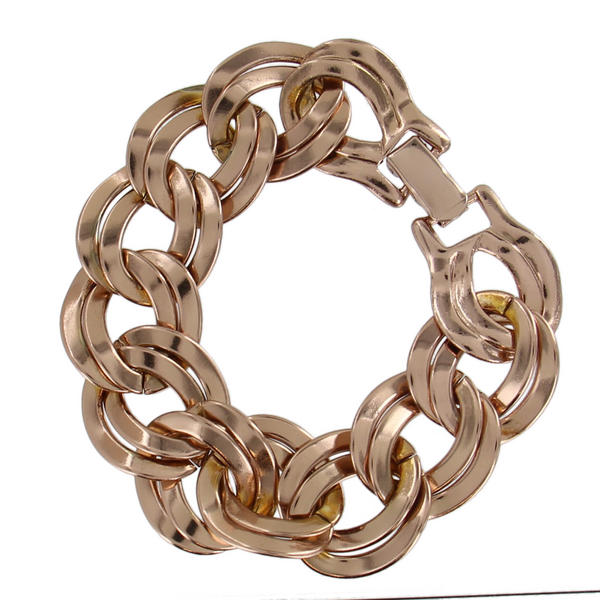 Ky & Co Rose Gold Tone Chunky Double Link Cable Chain Bracelet Wide