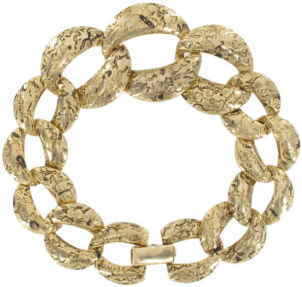 Gold Tone Niello Graduated Etched Link Chain Bracelet
