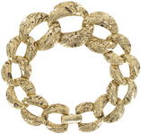 Gold Tone Niello Graduated Etched Link Chain Bracelet Thumbnail 1