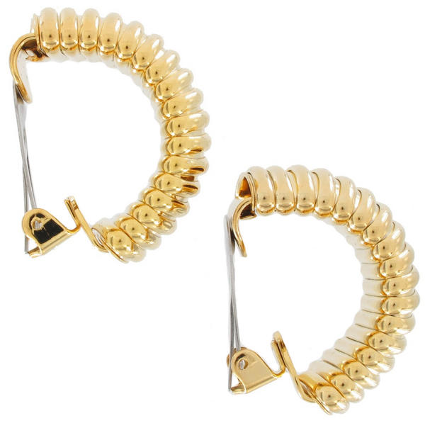 Omega Chain Big Chunky Wide Gold Tone Loop Hoop Clip On Earrings 1 1/4""