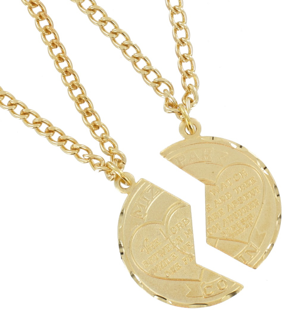 Necklace Bff Set New Mizpah Coin Pendant Best Friends Genesis Fancy Gold Tone