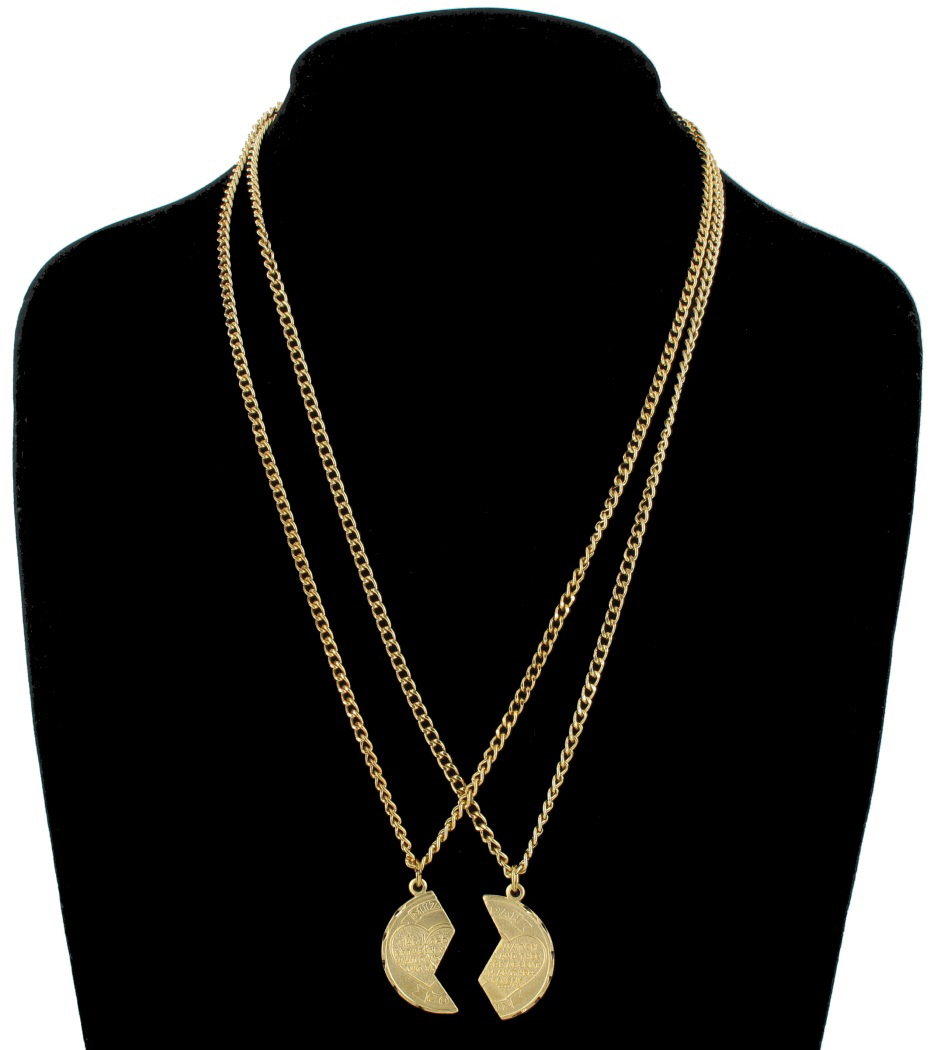 Necklace Bff Set New Mizpah Coin Pendant Best Friends Genesis Fancy Gold Tone Thumbnail 3