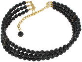 Faceted Black Beaded Three Strand Choker Necklace Large Thumbnail 3