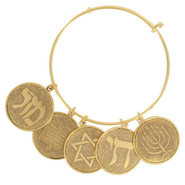 Ky & Co Bangle Charm Bracelet Gold Tone Jewish Hebrew Coin Torah Menorah Lg
