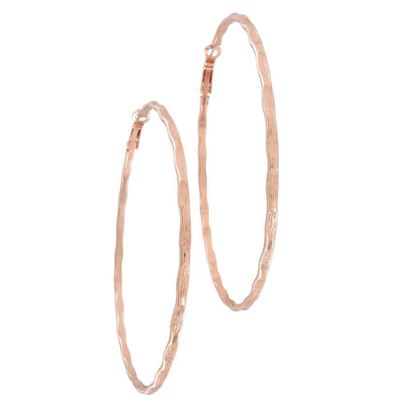 Ky & Co USA Made Rose Gold Tone Bamboo Texture Pierced Hoop Earrings Large 3 1/8""