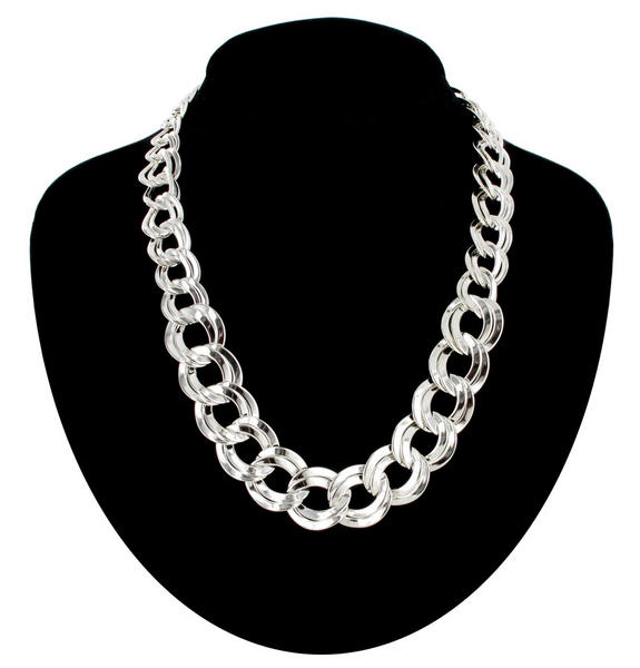 Ky & Co Silver Tone Graduated Chunky Link Circle Chain Necklace 18""