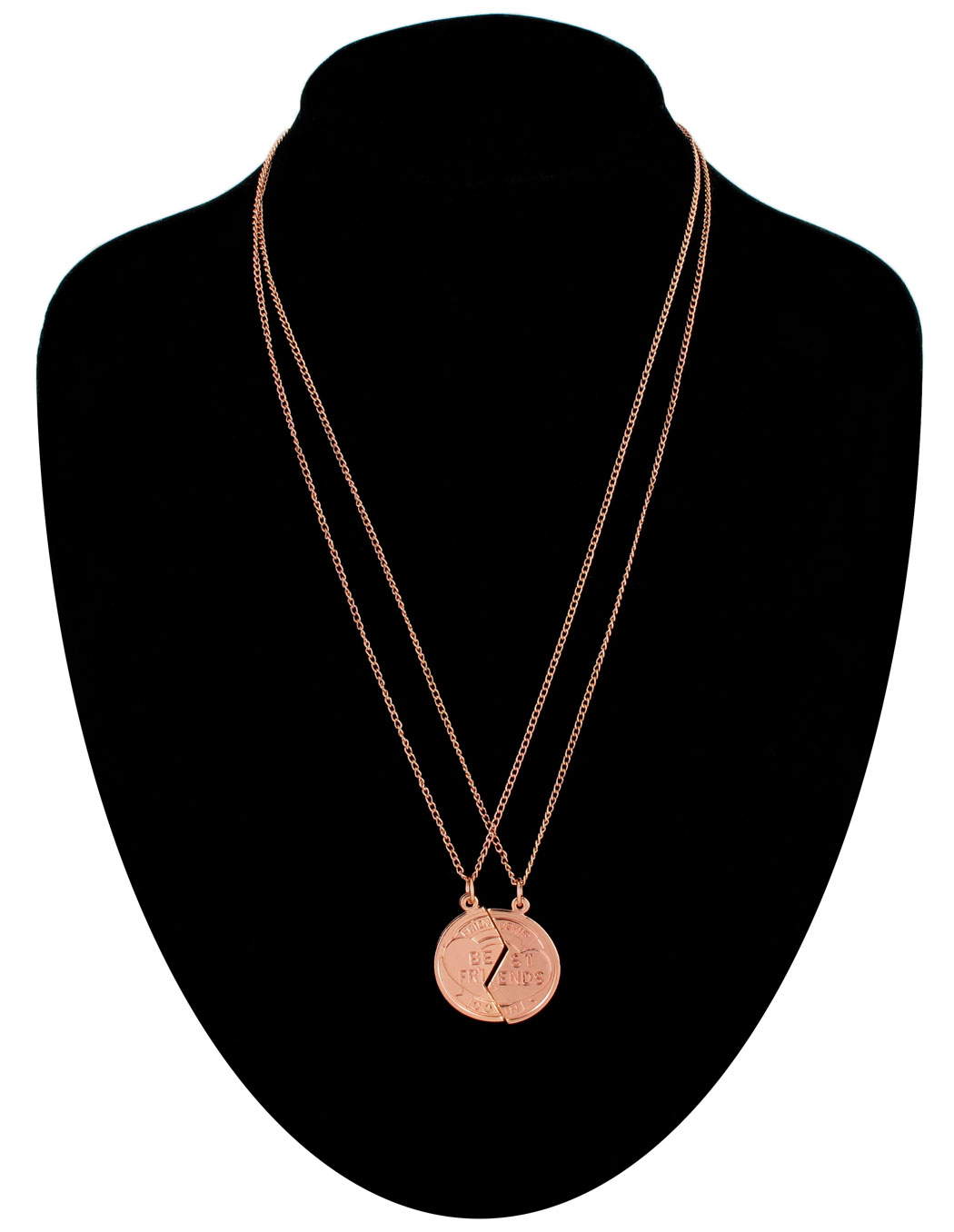 Ky & Co Pendant Bff Necklace Set Broken Coin Best Friends Rose Gold Tone Thumbnail 1