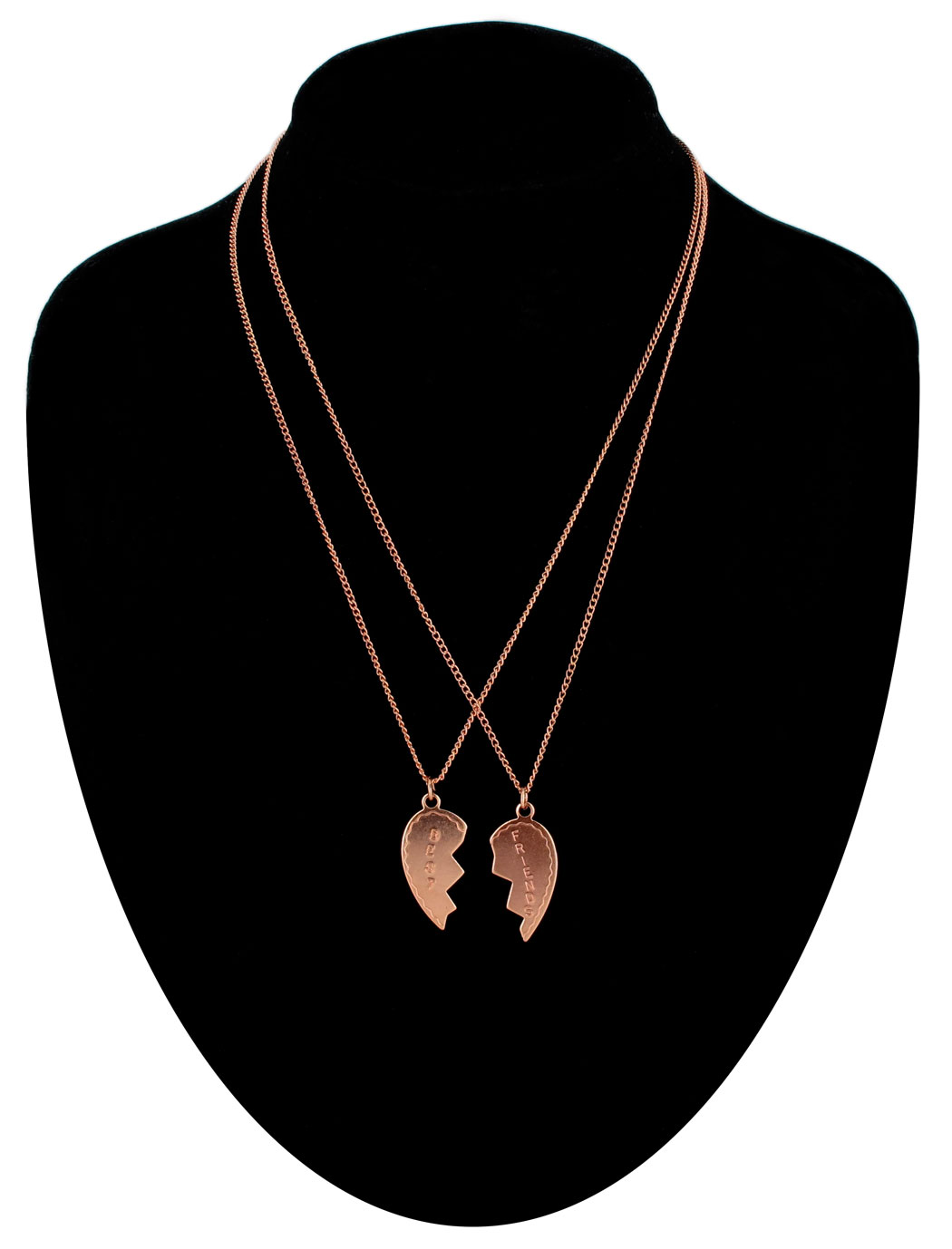 Ky & Co Necklace Bff Set Best Friends Broken Heart Rose Gold Tone Friendship USA