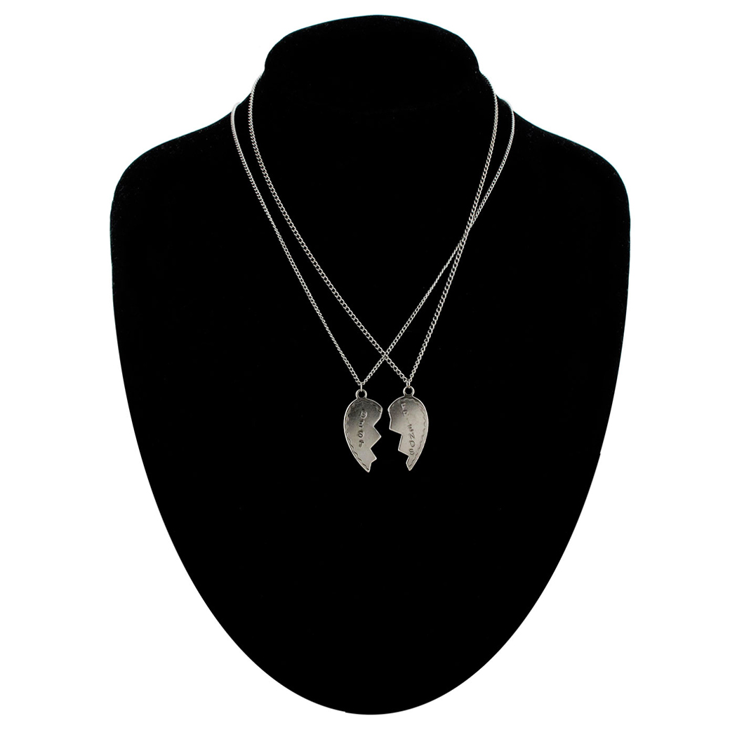 Ky & Co Bff Broken Heart Set 2 Necklace Best Friends Pendant Silver Tone Box