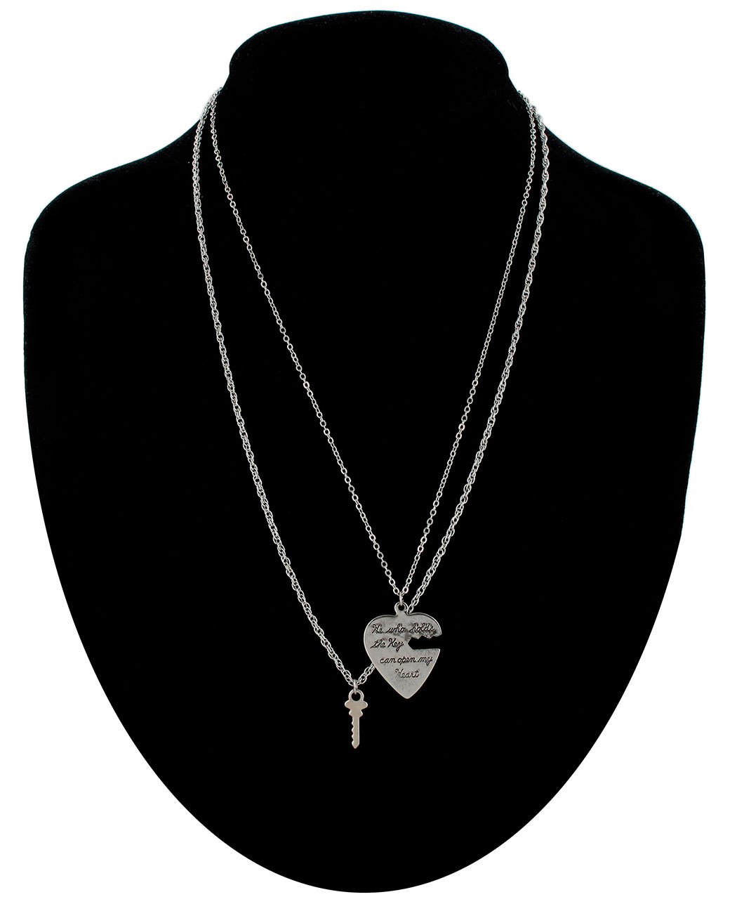 Ky & Co Pendant Key To My Heart Sweetheart Necklace Small Couples Silver Tone
