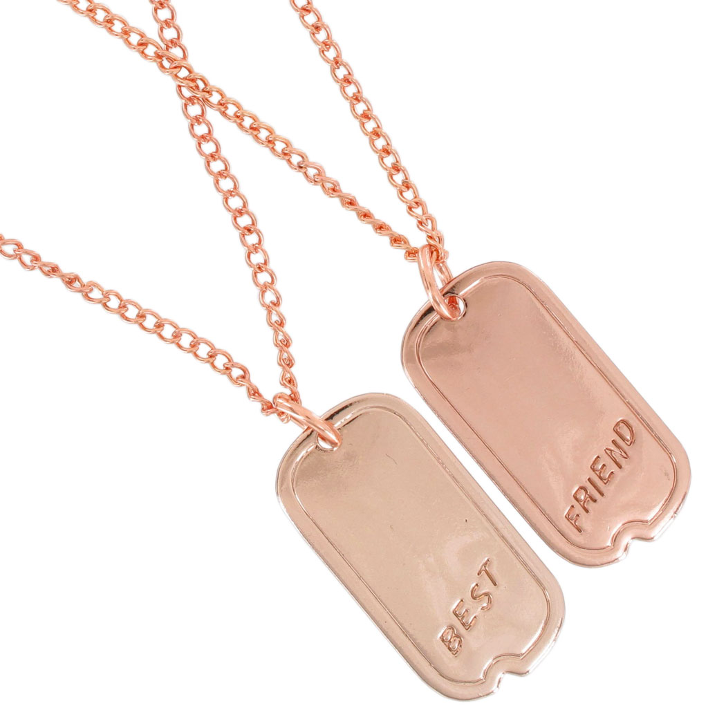 Ky & Co Pendant Bff Necklace Set Friendship Dog Tag Best Friends Rose Gold Tone Thumbnail 2