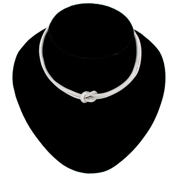Ky & Co Silver Tone Mesh Knot 2 Strand Choker Necklace Dog Collar Style