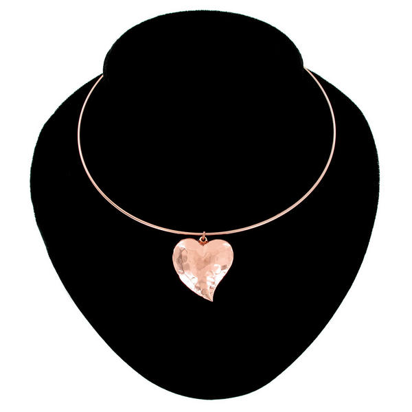 Ky & Co Collar Necklace Rose Gold Tone Hammered Puffy Heart Made In USA