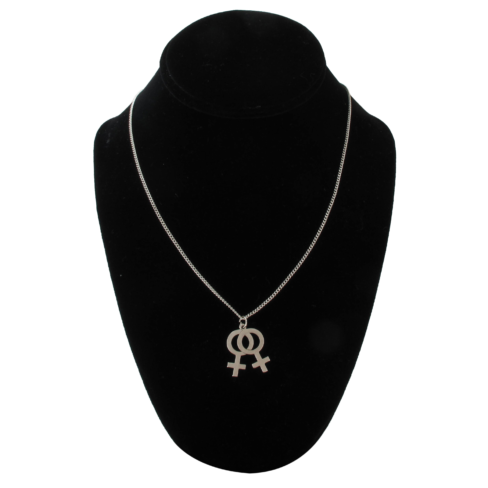 Ky & Co Silver Tone Lesbian Couple Female Gender Symbol Pendant Necklace USA Made