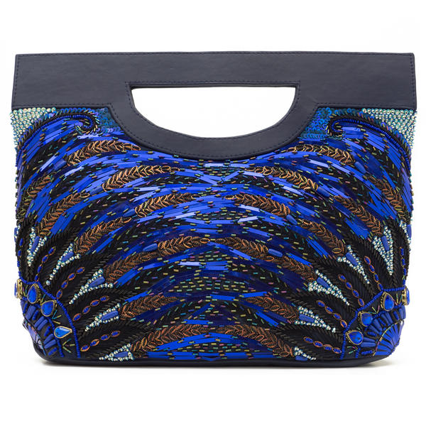 WCM Blue Genuine Leather Hand Beaded Peacock Design Big Tote Purse Bag Handbag
