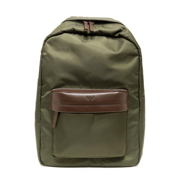Prospect Park Men's Backpack Olive Green Bag Nylon Brown Genuine Leather Trim