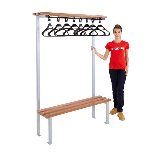 Single sided cloakroom bench with hangers school gym