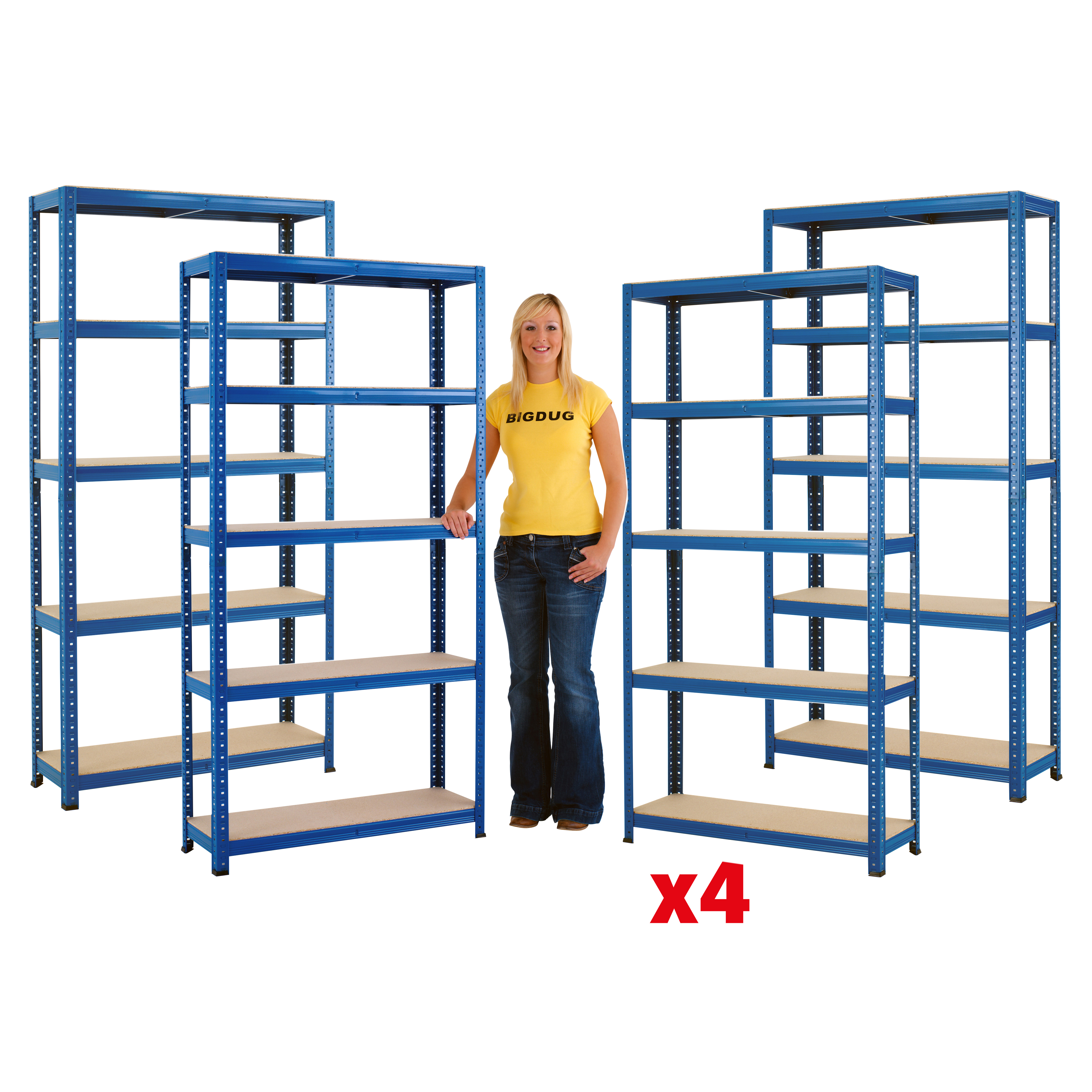 4 Bays All Blue Racking Steel Shelving 1780h x 900w x 300d mm 5 Tier 175kg UDL