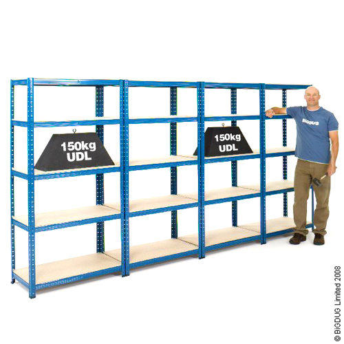 4 Bays All Blue Racking Shelving 1780h x 900w x 300d BiGDUG